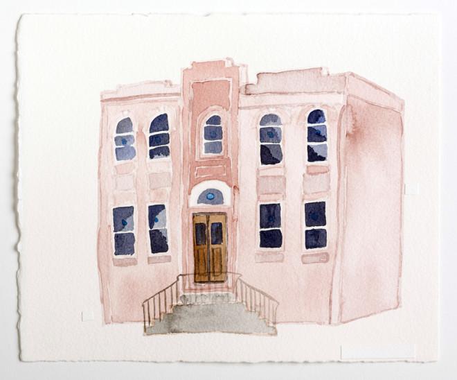 "Beth HaMedrosh HaGadol / Open Heart Church, 60th & Larchwood, West Philadelphia, Watercolor on Paper, 10x12"", Zoe Cohen, 2015 | Photo: David Johanson"