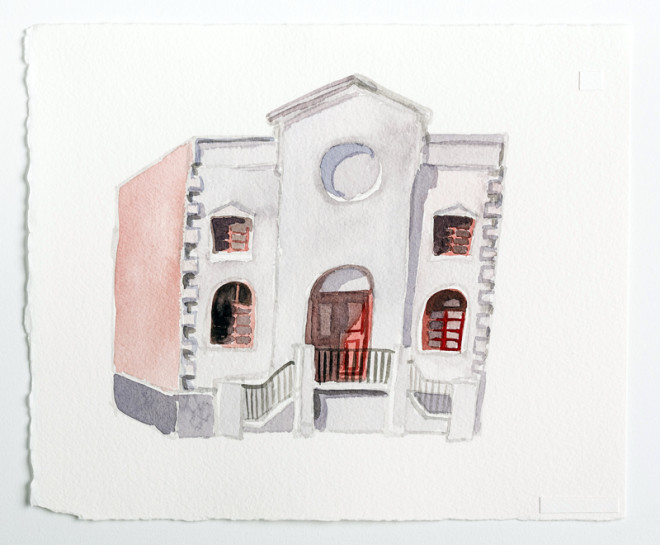 "Beth Jacob / Reconciliation & Liberty Bible Church, 60th & Chestnut, West Philadelphia, Watercolor on Paper, 10x12"", Zoe Cohen, 2015"