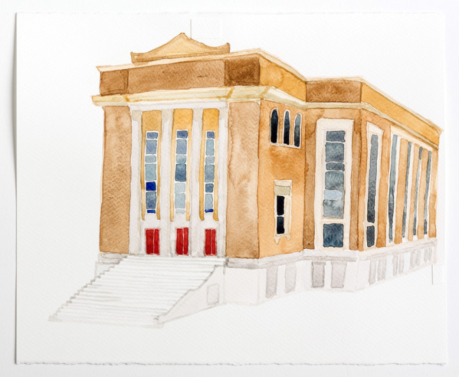 "Beth Sholom / Beloved St John Evangelistic Church, 4541 North Broad St, North Philadelphia, Watercolor on Paper, 10x12"", Zoe Cohen, 2015 