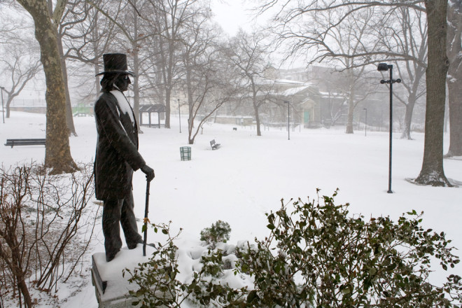 Congressman John Wister looks over Vernon Park, recently renovated under all that snow