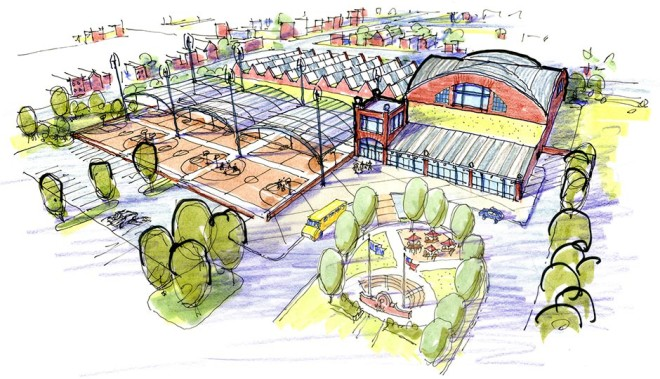 Rendering of Philadelphia Youth Basketball's planned Logan Triangle facility