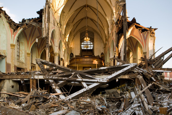 Demolition of St. Bonaventure Roman Catholic Church at 9th and Cambria, August 2013. The iconic, Gothic Revival, designed by Edwin Forrest Durang, was shuttered by the Archdiocese in 1993 | Photo: Bradley Maule