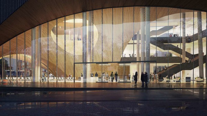 Oslo-based Snøhetta's vision for Temple's unnamed library planned for 13th Street & Pollet Walk