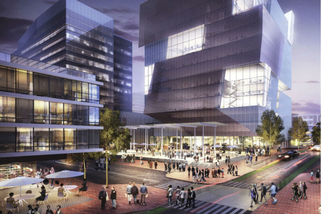 """""""A second office tower, to include residences and retail, at 37th and Warren, has sexy angles and a solar- panel-embedded facade,"""" writes The Inquirer's Inga Saffron. 
