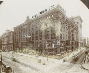 This was Snellenburg's first building along Market Street, at Twelfth and Market Streets in the early 20th century | From the Free Library of Philadelphia
