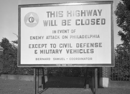 A Civil Defense Administration sign on Roosevelt Boulevard, August 29, 1951.
