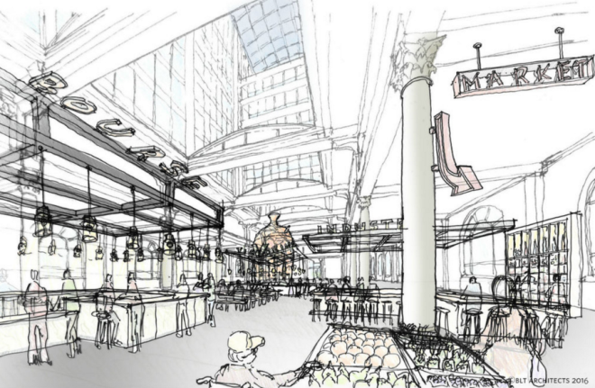 Rendering of planned renovations to the Bourse building's ground floor | BLT Architects