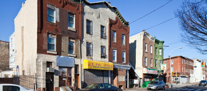 PHA has acquired several dozen commercial buildings along Ridge Avenue, including these properties on the 2000 block of Ridge Avenue, along with more than 50 vacant parcels   Photo: Peter Woodall