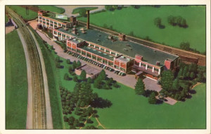 Fleer's Gum factory postcard, ~1950s | via Topps Archive