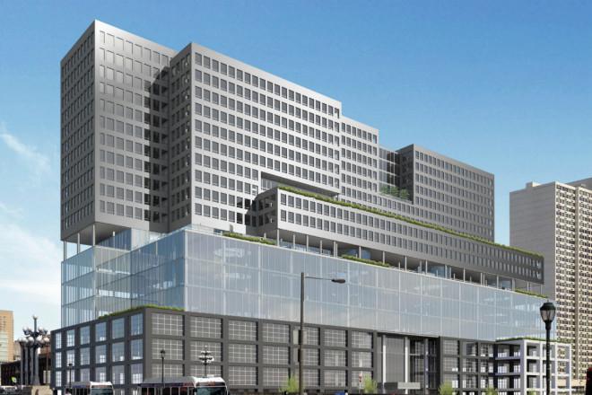 """Plans call for turning the former Marketplace Design Center into a 22-story tower, part of a westward push in Philadelphia development.""   Rendering: Varenhorst/Gensler"