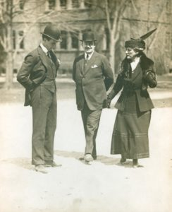 Horace Trumbauer (Middle) with Eleanor Widener Rice and George Widener, Jr. at the dedication of Widener Memorial Library Harvard University | Courtesy of the Athenaeum of Philadelphia