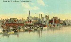 The Schuylkill riverfront circa 1915