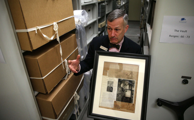 """Jim Mundy in the Union League's Archives. Philadelphia played a more important role in the Civil War than any other Northern city, he says."" 