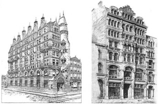The Hale and Haseltine Buildings pictured together as examples of great American architecture | Source: The Iconographic Encyclopaedia of the Arts and Sciences, Volume 4