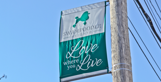 At 28th Street & Allegheny Avenue, a banner promotes the vicinity as Swampoodle Heights | Photo: Kimberly Paynter, for NewsWorks
