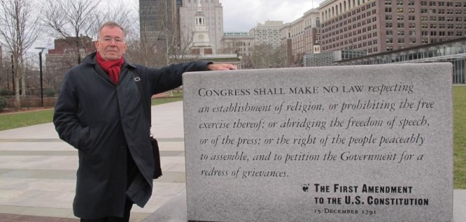 Jan Gehl, 79, poses with a monument to the 1st Amendment of the Constitution, on Independence Mall. | Photo: Ashley Hahn, for Eyes on the Street