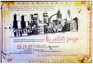 """""""A home for Philadelphia artists to thrive, grow, and collaborate,"""" a postcard inviting artists  to the Piazza   Courtesy of Amber Lynn Thompson"""