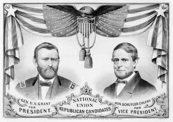 Grant/Colfax 1868 National Union Republican campaign poster | Image: Public Domain