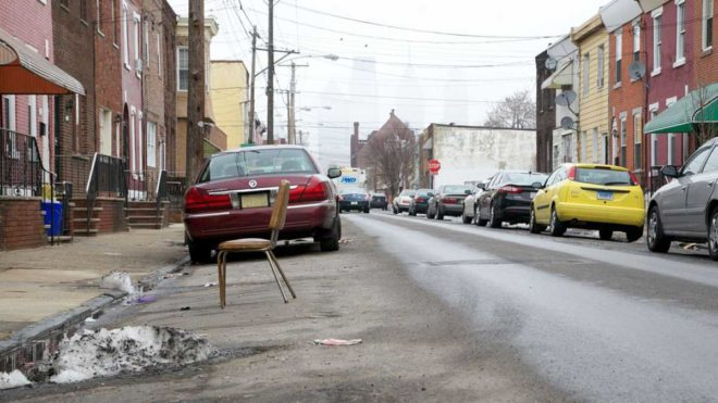 """Using chairs or traffic cones to save parking spaces on snowy streets has long been a tradition in Philadelphia."" 