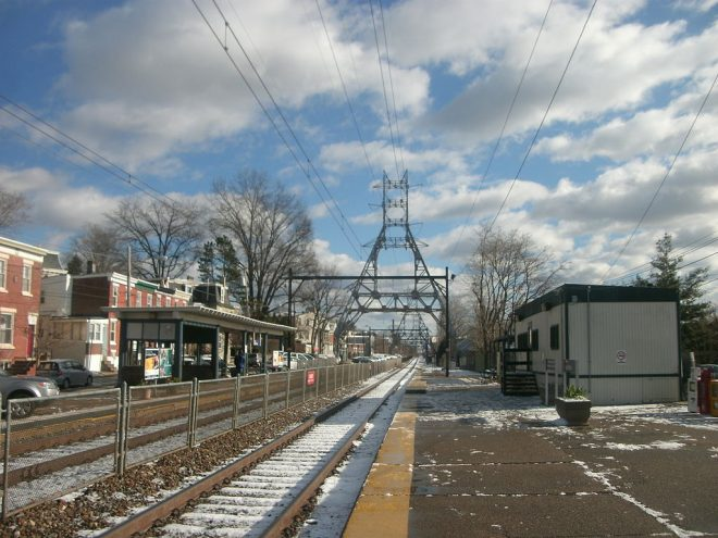 Since the last station building burned down in 1982, SEPTA's regional rail stop on Cresson Street in East Falls has been serviced by a trailer. This picture was taken in December 2012. | Photo: Adam Moss, Wikimedia