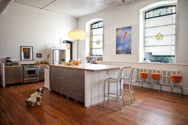 """Angie, Angie. They can't say we never tried."" Dominic Episcopo's late, beloved bulldog Angie models the sanctuary-turned-kitchen 