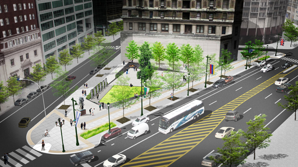 Rendering of the Holocaust Memorial Plaza, bounded by 17th Street, Arch Street, and the Benjamin Franklin Parkway