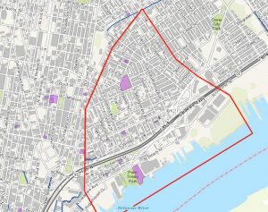 Philadelphia Historical Commission map, trained on Fishtown (roughly outlined in red). The purple polygons are designated historic properties | Map: Philadelphia Historical Commission