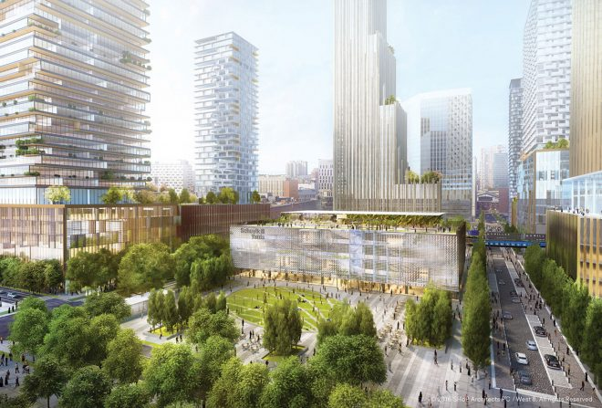 """Fry announced plans to convert an area between Drexel's campus and 30th Street Station into a dense neighborhood of businesses, retailers, parks, and residential towers, to be called Schuylkill Yards."""