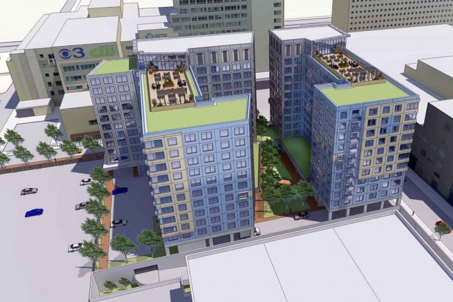 Rendering from BLT Architects showing the two 11-story residential towers that the Community College of Philadelphia hopes to attract international students with.