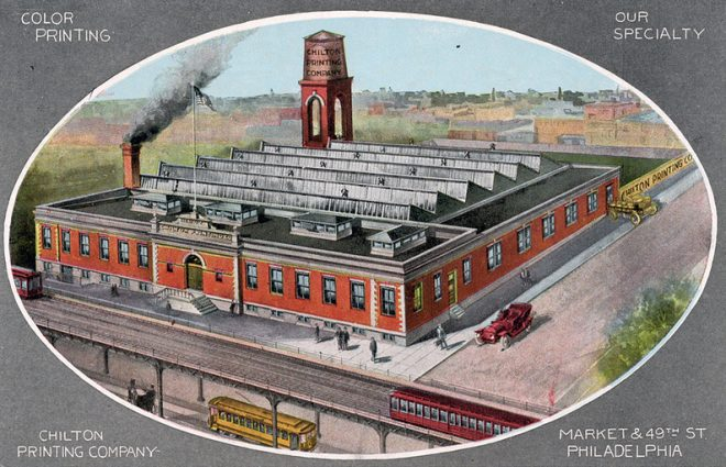 Along with trade publications, Chilton Printing Company made a mint in postcard production, supplying local landmarks like Independence Hall with paper souvenirs | Postcard: Chilton Printing Company
