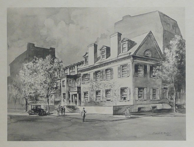 The Fox mansion after it was remodeled into a clubhouse for Aesculapian Club in 1922 | Drawing courtesy of Bryn Mawr College