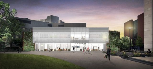 A view of the expanded Korman Center, scheduled for completion in fall 2017 | Rendering: Gluckman Tang Architects