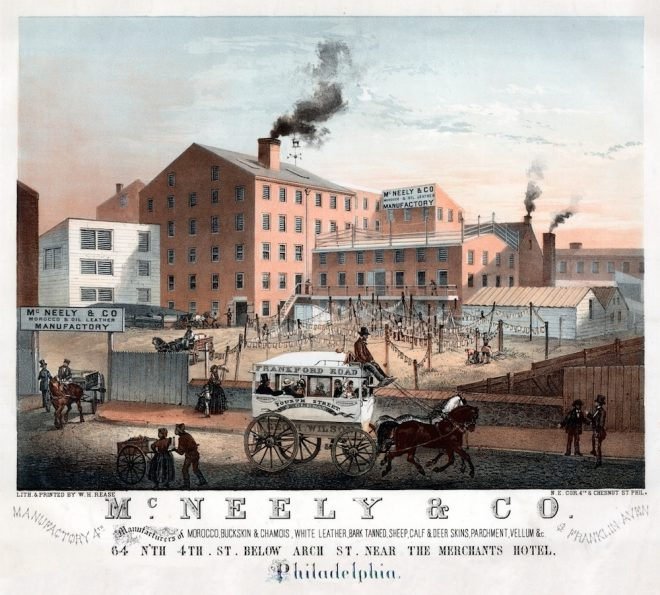 An Omnibus features prominently in this 1860 lithograph by William H. Rease of G. H. McNeely & Company Tannery at 64th North 4th Street | Image courtesy of the Library Company of Philadelphia