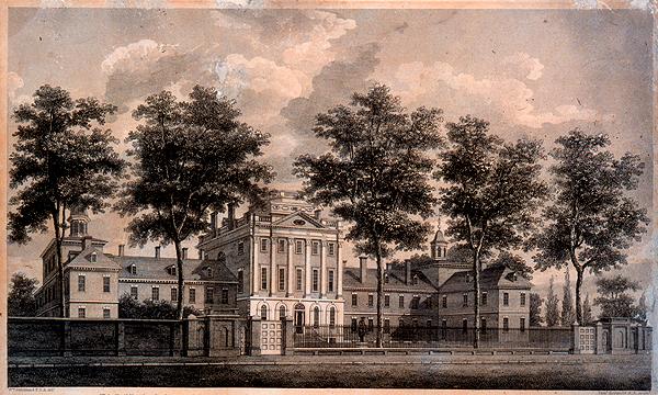William Strickland's 1811 engraving of the Pennsylvania Hospital. | via Wikimedia