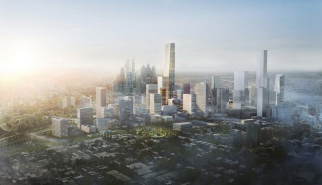 A view, from Powelton Village, of what the 30th Street Station Dsitrict would look like if and when completed   Renderings by Skidmore, Owings & Merrill, courtesy Amtrak