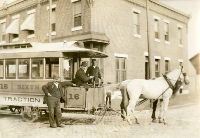Conductors stand by a horsecar at Sixth and Jackson Streets in 1894 | Photo courtesy of the Library Company of Philadelphia