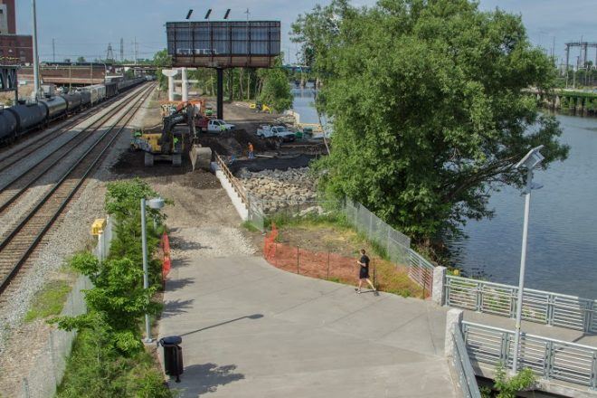 The southern expansion of the Schuylkill River Trail underway at the foot of the Boardwalk | Photo: Tyler Horst