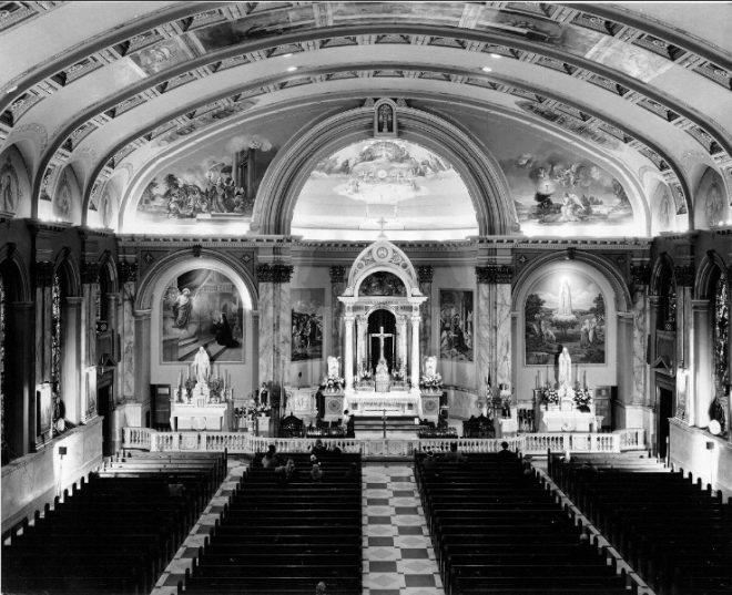Interior of Most Blessed Sacrament Church, date unknown | Courtesy, Athenaaeum of Philadelphia, James Dillon Collection