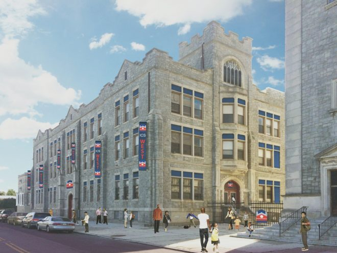 ICS West will reactivate the school of Most Blessed Sacrament on Chester Avenue this fall once renovations are complete. The fate of the Neo-Renaissance church, abandoned by the Archdiocese in 2007 and currently in a state of ruin, is still uncertain | Rendering: Blackney Hayes Architects