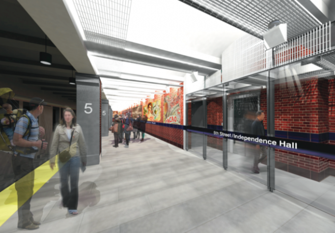 Rendering of renovated platform of 5th Street Station, approved last week by the Art Commission | Converse Winkler Architecture