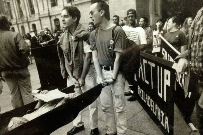 """An ACT UP protest at Dilworth Park in the early 1990s sought to bring the AIDS crisis to wider public attention."" 