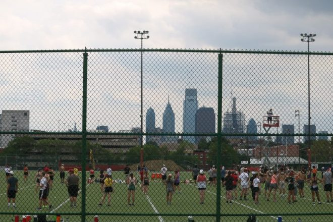 """The university authorized digging near Geasey Field, above, to see how deep a stadium could be built."" 