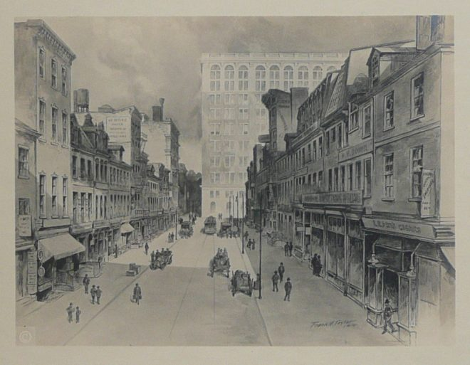 """Busy Sansom Street"" by Frank H. Taylor, 1914 