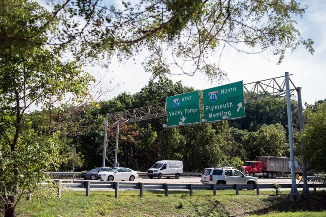 """Highway traffic stacks up on the entrance and exit ramps to I-76 and I-476 on Tuesday afternoon in Conshohocken."" 