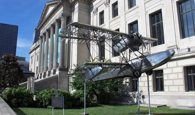 The Budd BB1 Pioneer, a 1931 prototype built by the Edward G. Budd Manufacturing Company of Bustleton, is being removed for some much needed maintenance work after decades of outdoor display outside the Franklin Institute. | Photo: Franklin Institute