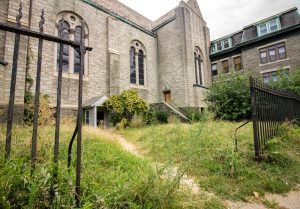 Lack of maintenance on the grounds of St. Francis has left the church vulnerable to crime and has become a blight on the neighborhood. | Photo: Michael Bixler