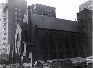 This 1948 view shows the eastern party wall's windows overlooking the First Presbyterian Church | Source: Print and Picture Collection, Free Library of Philadelphia