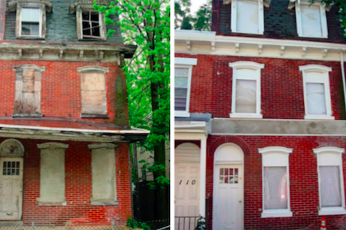 Before and after photos of a blighted property in Philadelphia. | Photos: Penn Urban Health Lab, via Philly Voice