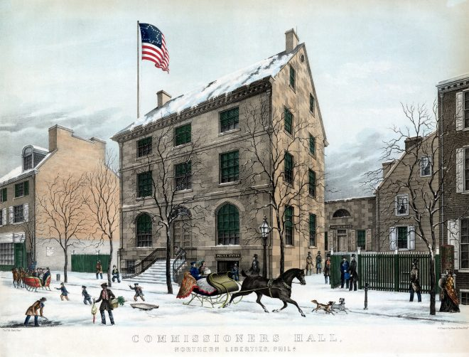 Lithograph by Charles Conrad Kuchel of the Commissioners' Hall of Northern Liberties`, showing a winter scene in 1852. Note: the mayor's office was in the rear | Library Company of Philadelphia.