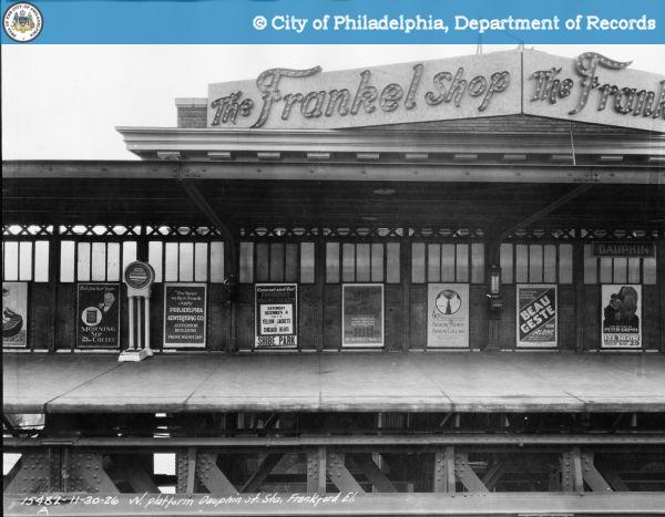 Frankel Shop sign peeking over the York-Dauphin Stop, 1926 | Source: PhillyHistory.org